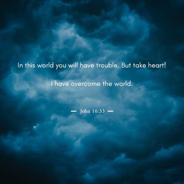 In this world you will have trouble. But take heart! I have overcome the world. - John 16:33